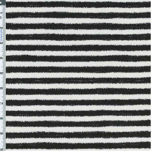 Black/White Knit Fuzzy Edge Stripe, Fabric By the Yard