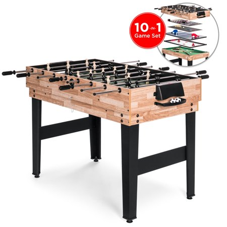 - Best Choice Products 2x4ft 10-in-1 Combination Interchangeable Game Table Set w/ Billiards, Foosball, Ping Pong, Push Hockey, Chess, Checkers, Bowling, Shuffleboard, Backgammon, Cards