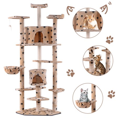 Costway Beige Paws New 80'' Cat Tree Condo Furniture Scratch Post Pet House ()