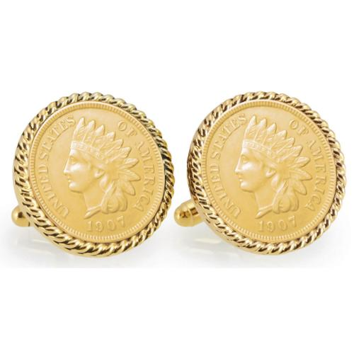 American Coin Treasures Gold-plated Indian Head Penny Goldtone Rope Bezel Cuff