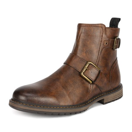Bruno Marc Men Motorcycle Combat Riding Oxford Dress Chelsea Ankle Leather Boots BROWN PHILLY_16 size 7.5