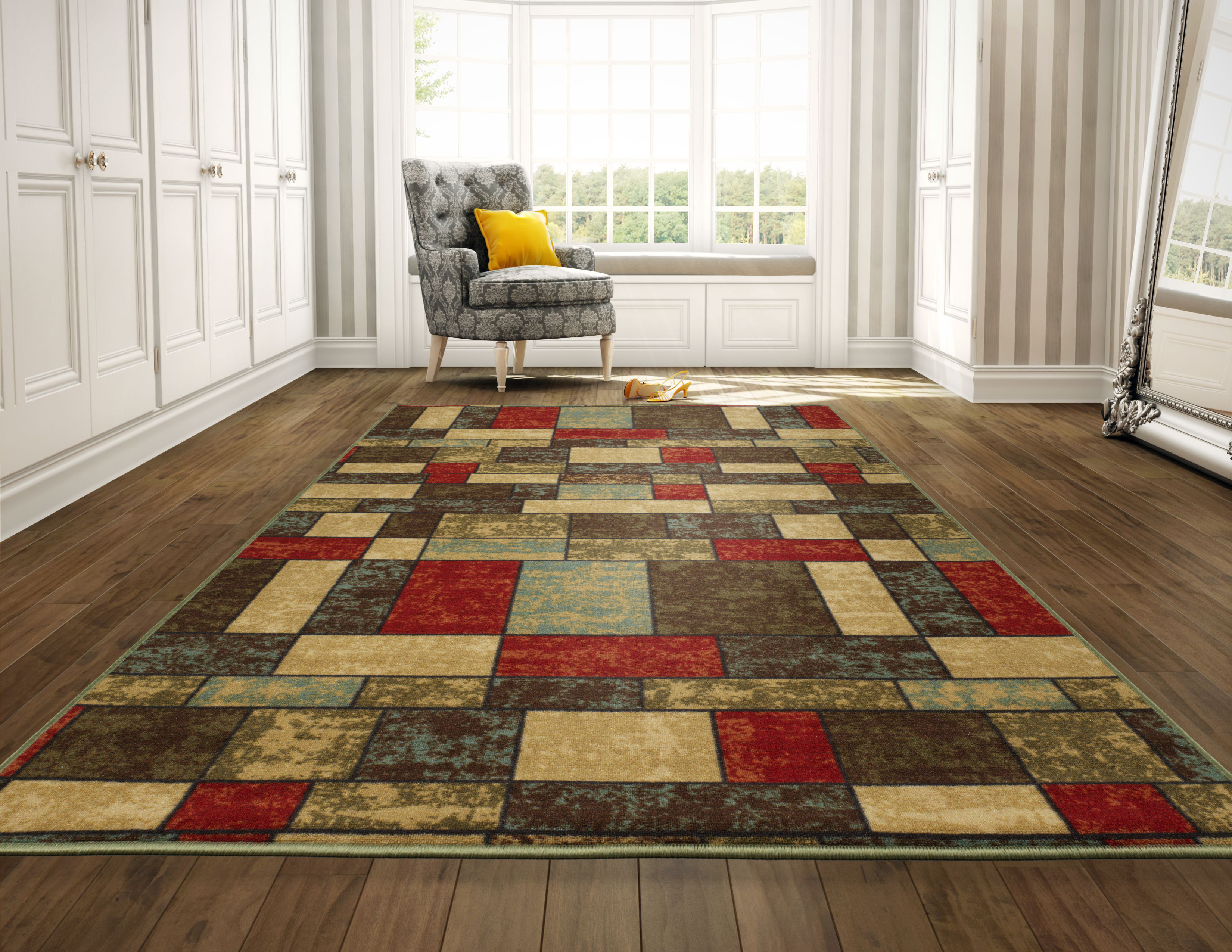 The Home Talk Moroccan Cotton Area Rug Hand Woven with Print Throw Kitchen Rugs Door Mat with Anti-Skid Backing Bedroom 24x60 INCH, Red Kitchen Indoor Area Rugs for Bathroom