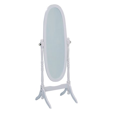 Cheval Mirror, White Finish, Solid wood frame By Crown Mark