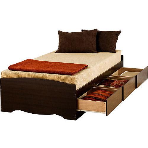 edenvale twin xl 3-drawer platform storage bed, espresso - walmart