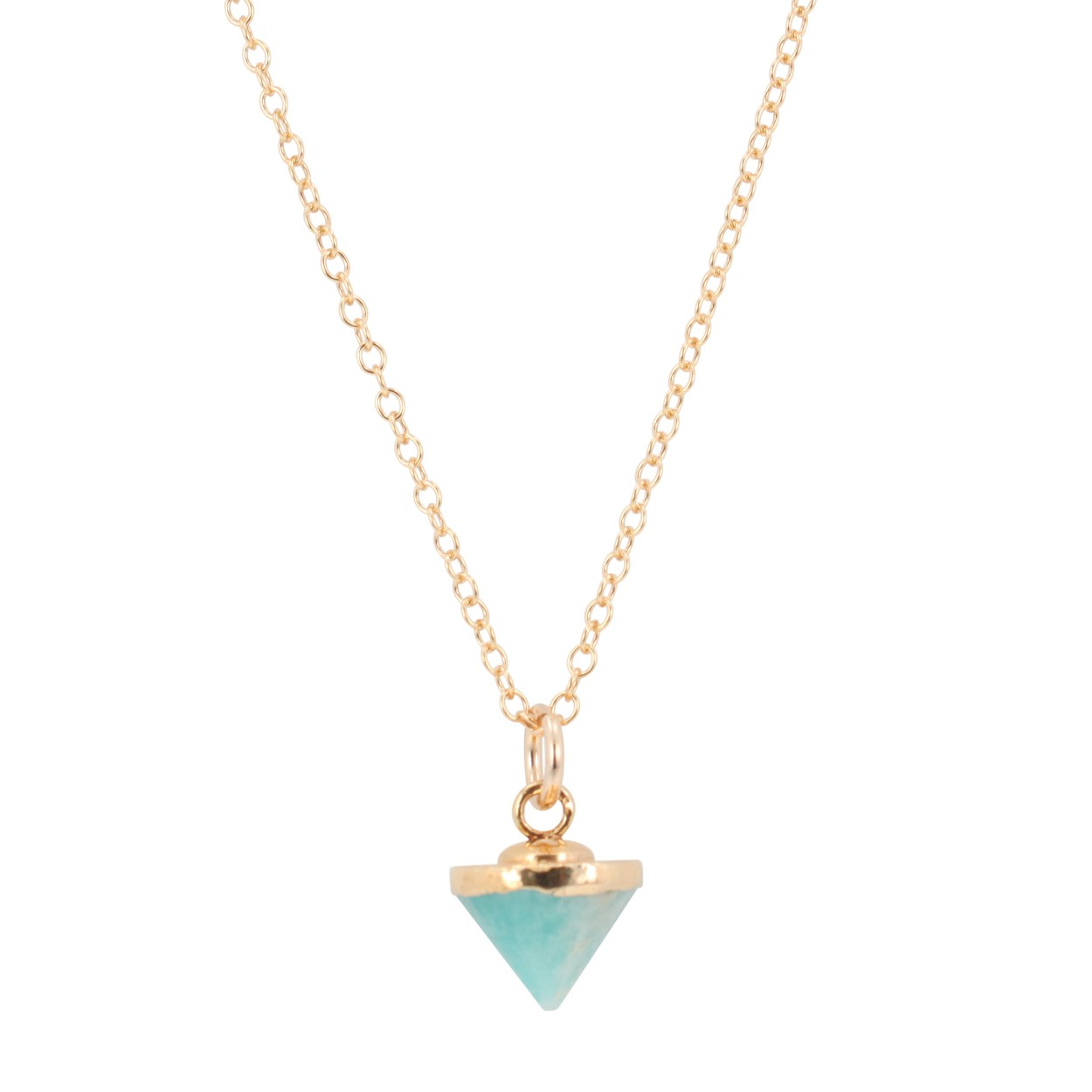 Small Gold Gem Spike Necklace on 24in. Chain, Stone Choice, #6451-yg (Amazonite) by
