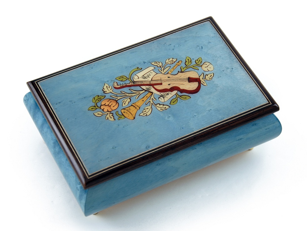 Gorgeous Handcrafted 30 Note Light Blue Musical Instrument Theme Wood Inlay Music Box by MusicBoxAttic