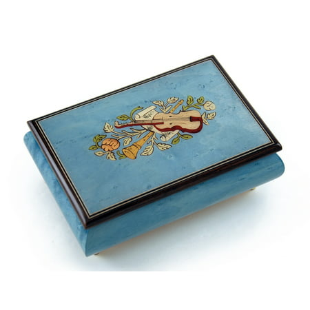 Gorgeous Handcrafted 30 Note Light Blue Musical Instrument Theme Wood Inlay Music Box - Beautiful Dreamer (Music Note Lights)