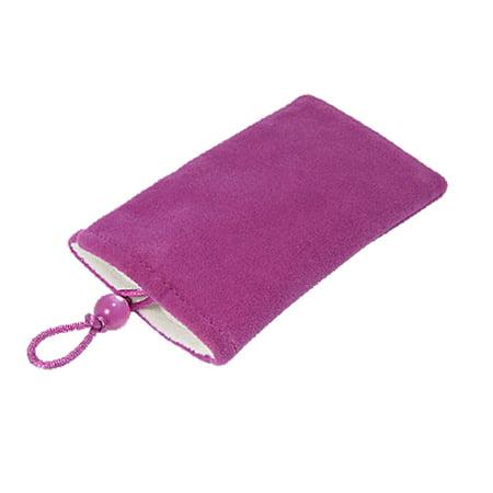 Bead Closure (Unique Bargains Purple Red Plush Bead Button Closure Camera MP4 Pouch)