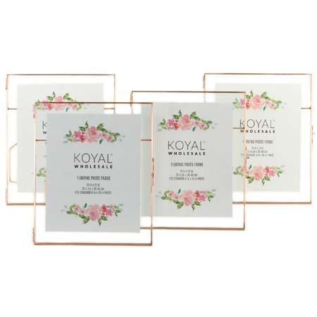 Koyal Wholesale Rose Gold Pressed Glass Floating Photo Frames 10 x 12 Inch,  4−Pack with Stands, Horizontal / Vertical