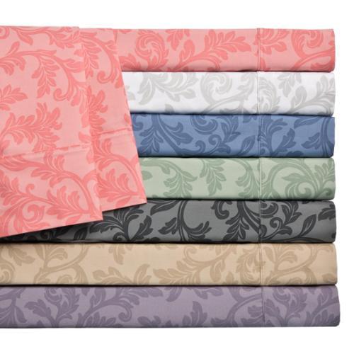 Home Styles Cotton Rich Damask Sheet Set King - Lavender