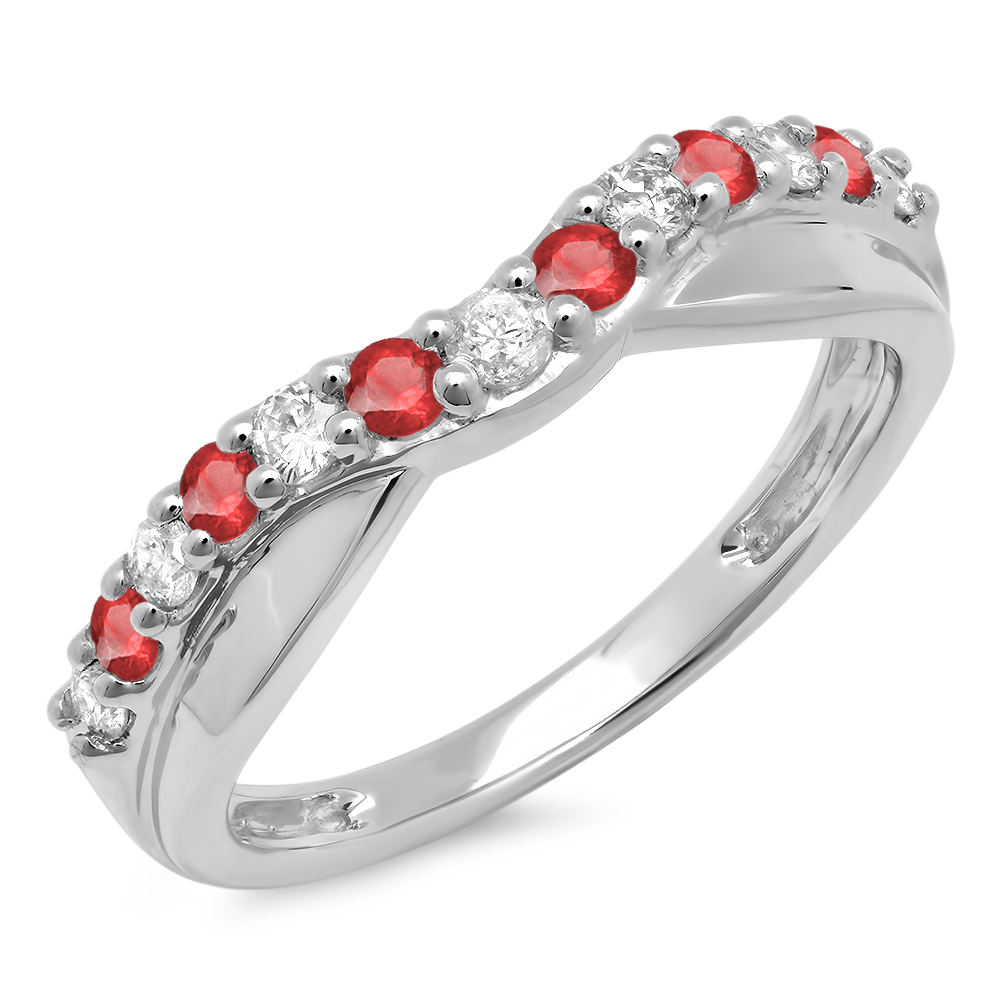 0.55 Carat (ctw) 18K White Gold Round Cut Ruby & White Diamond Ladies Anniversary Wedding Guard Contour Band 1/2 CT