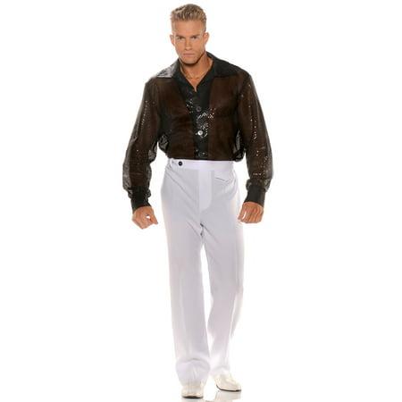 Black Sequin Shirt Adult Costume - Sequin Mens Shirt