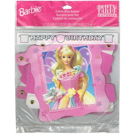 Barbie Vintage 1997 'Flowers' Happy Birthday Banner (1ct) - Banner Flowers