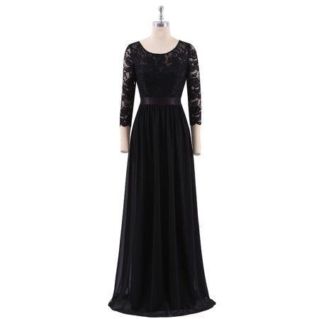 785d56d9c11 Ever-pretty - Ever-Pretty Women s Elegant A Line Long Lace Sleeve Plus Size  Wedding Bridesmaid Evening Prom Dress for Women 07412 (Black 16 US) -  Walmart. ...