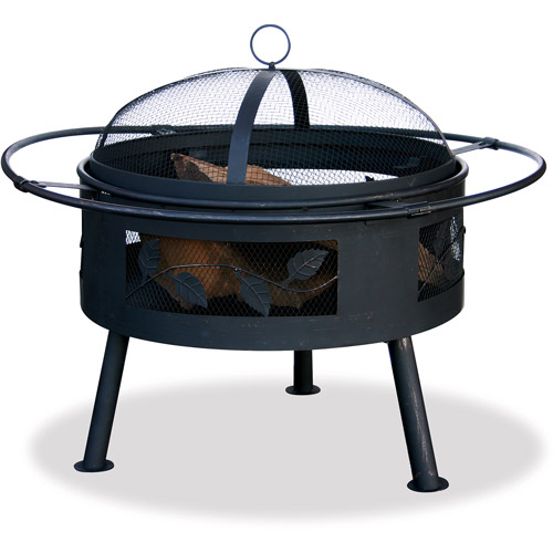 Aged Bronze Deep Steel Pit Fire Pit with Leaves