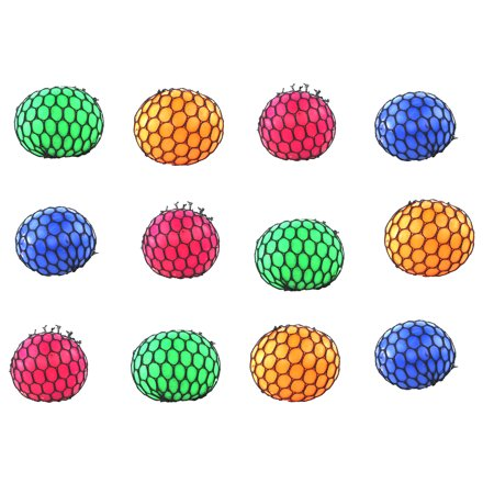 12 Pack of Mesh Balls, Squishy Splat Toy Ball, Fun Pass Time, Great for kid's Parties, Goodie Bags and Party Favors