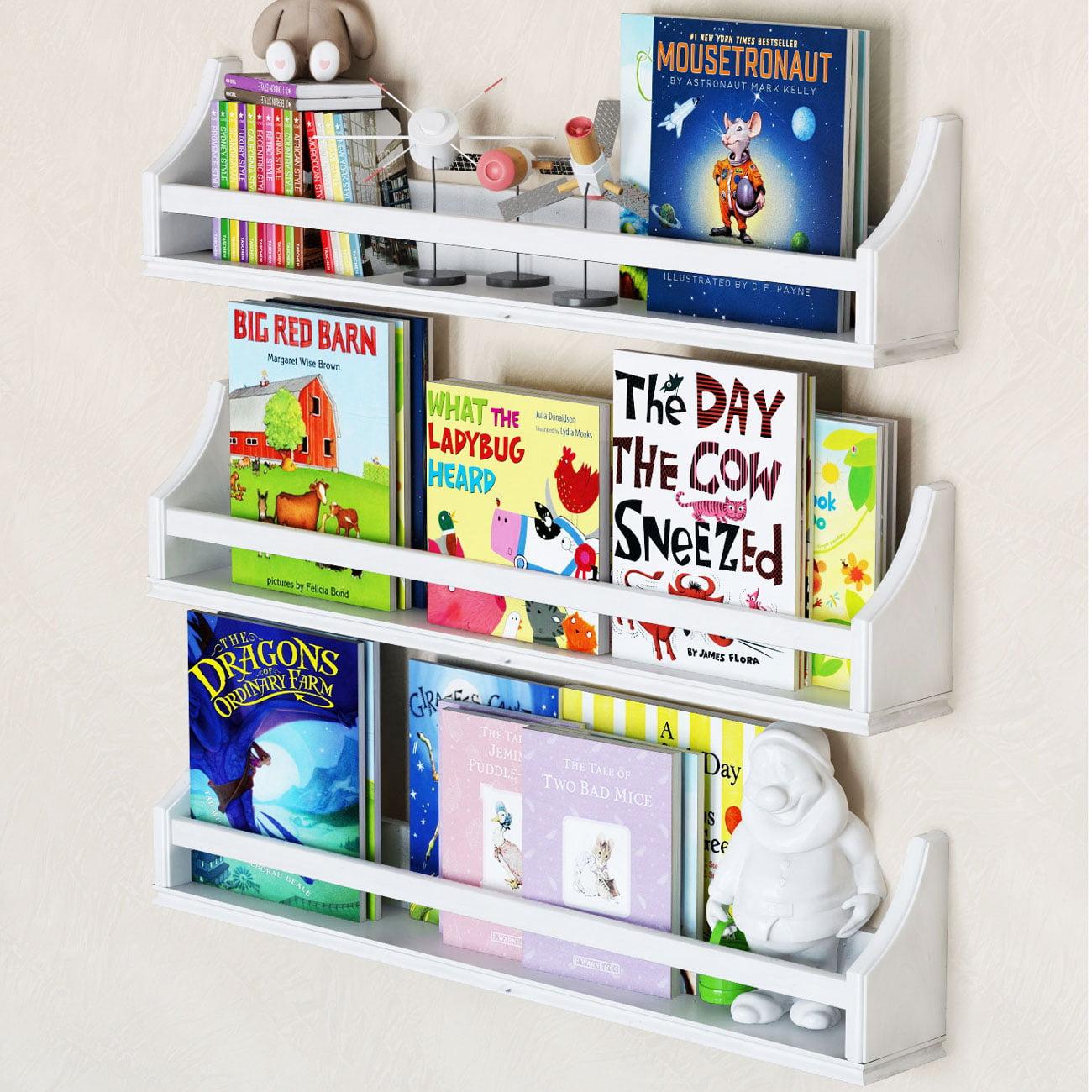 Set of 3 Stylish Baby Nursery Room Wall Shelf Sturdy Birch Wood