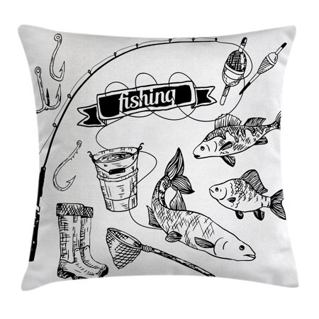 Fishing Decor Throw Pillow Cushion Cover, Hand Drawn Fishing Tools Set with Rod Salmon Perch Bucket Net Float Ribbon, Decorative Square Accent Pillow Case, 24 X 24 Inches, Black White, by Ambesonne