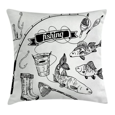 Fishing Decor Throw Pillow Cushion Cover, Hand Drawn Fishing Tools Set with Rod Salmon Perch Bucket Net Float Ribbon, Decorative Square Accent Pillow Case, 18 X 18 Inches, Black White, by Ambesonne