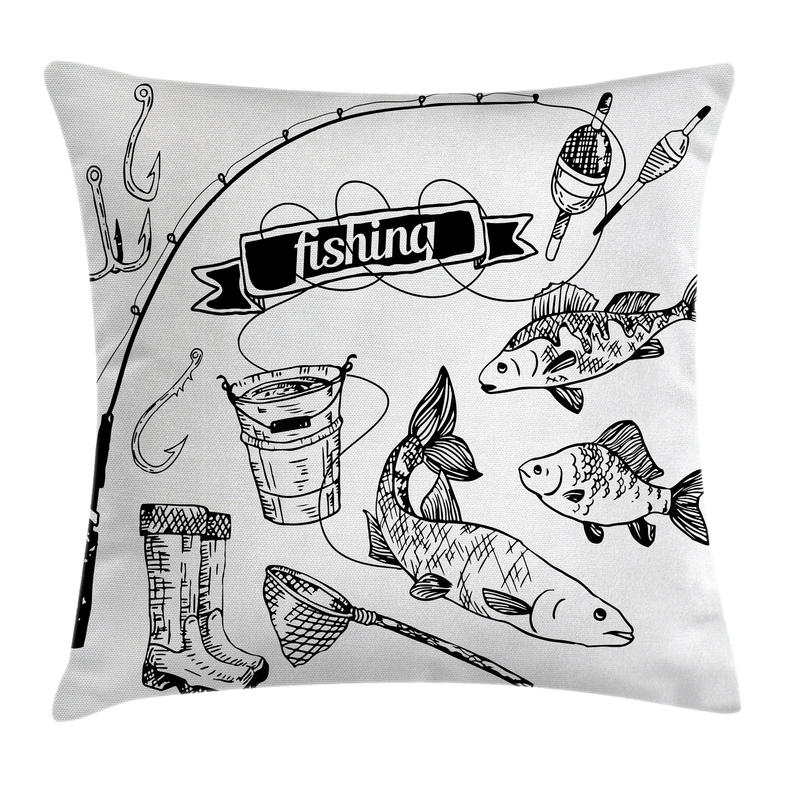 Fishing Decor Throw Pillow Cushion Cover, Hand Drawn Fishing Tools Set with Rod Salmon Perch Bucket Net Float Ribbon, Decorative Square Accent Pillow Case, 20 X 20 Inches, Black White, by Ambesonne