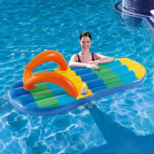 "Blue Wave Beach Striped Flip Flop 71"" Inflatable Pool Float"