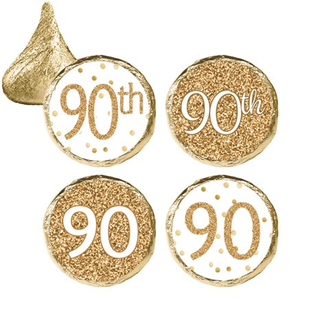 90th Birthday Party Favor Stickers, 324ct - Adult Birthday Party Supplies White and Gold 90th Birthday Candy Decorations Favors - 324 Count Stickers (90th Birthday Centerpieces)