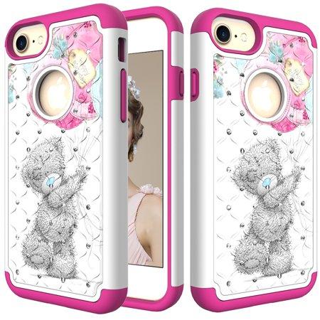 iPhone 7 Case, iPhone 8 Case, iPhone 6/6S Case, Allytech 2 in 1 Ultra Slim Hard PC Soft TPU Bumper Anti-Scratch Shockproof Protective Case Cover for Apple iPhone 8 / 7/ 6 6S, Cute Bear (Iphone 6 Cure Case)