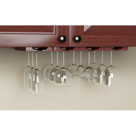 Rustic State Under Cabinet Stemware Glass Rack Storage Mahagony Set of 2 ()