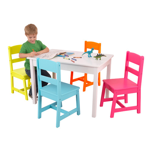 KidKraft Highlighter Kids 5 Piece Writing Table And Chair Set