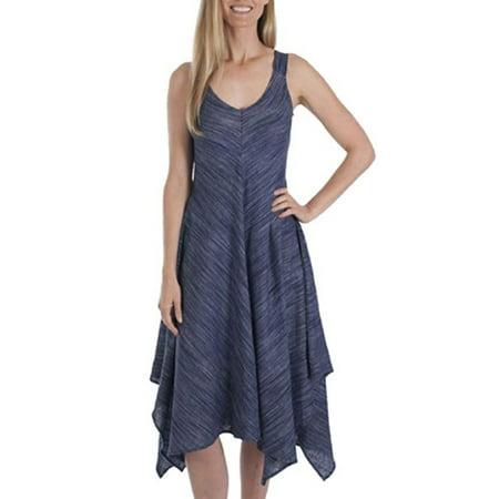 Fever Women's Linen Blend Hanky Hem Sleeveless Dress (Britain Blue, Large) (Dress With Handkerchief Hem)