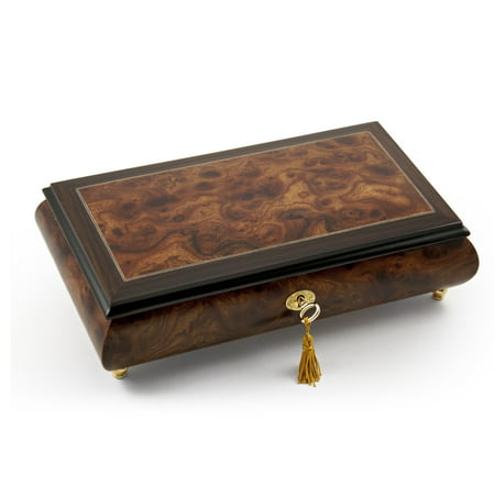 Elegant Classic Style Wood Tone Musical Jewelry Box with Lock and Key - Beautiful Dreamer