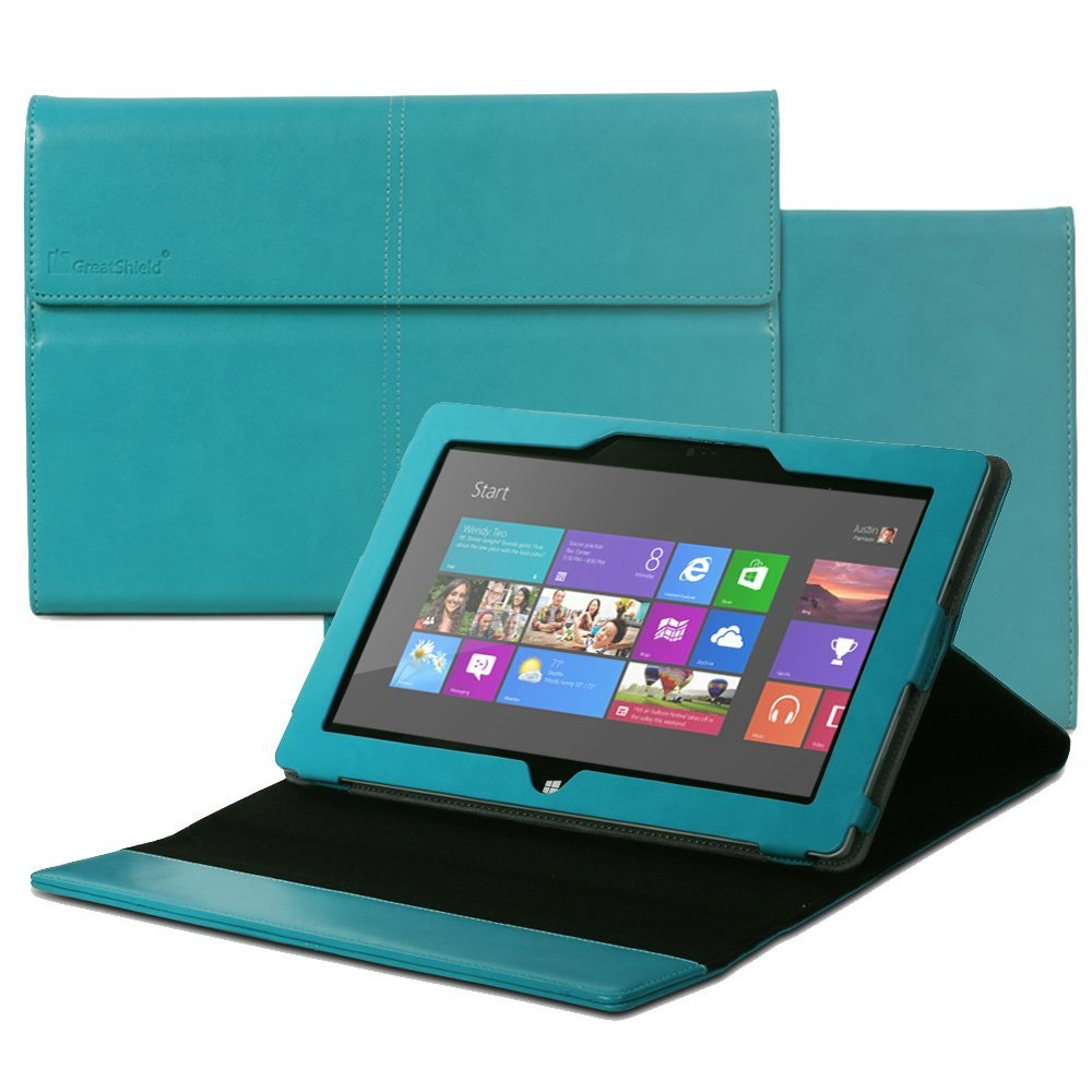 GreatShield VANTAGE Series Leather Folio Stand Case Magnetic Flip Cover for Microsoft Surface 2 / Surface RT Tablet - (Teal)