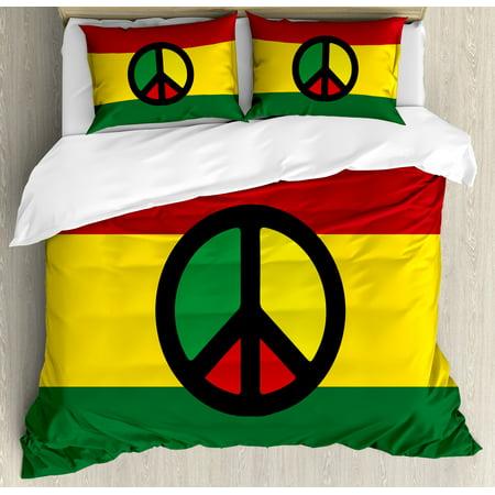 Jamaican Duvet Cover Set, Reggae Culture Peace Symbol Caribbean Country Flag Design Americas Rasta Culture, Decorative Bedding Set with Pillow Shams, Multicolor, by Ambesonne ()