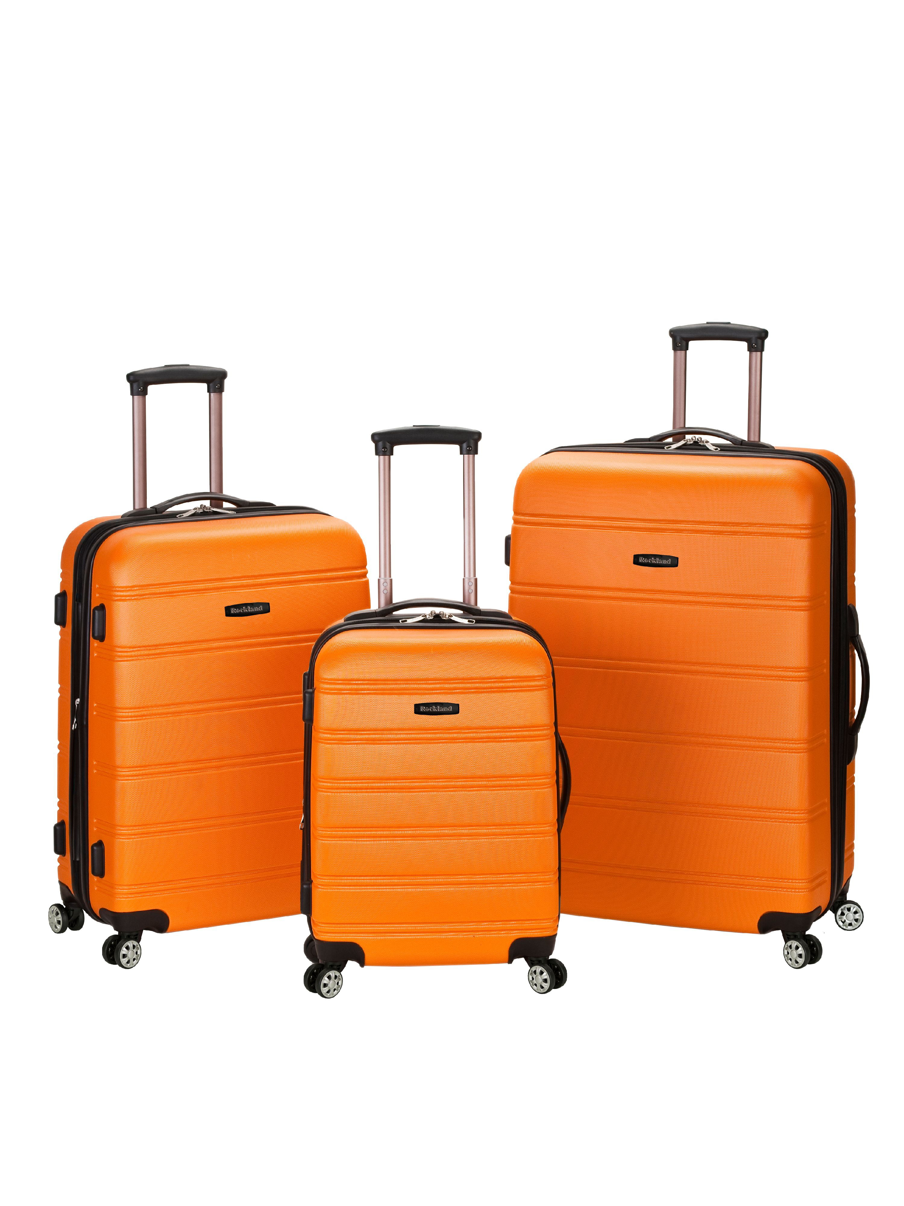 Rockland Melbourne 3pc Expandable ABS Spinner Luggage Set - Orange