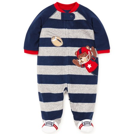 Baby Pajamas Warm Fleece Sleepers Footed Blanket Sleeper Footie Navy Grey Stripe Bear 3 Months](Bear Onesie For Men)