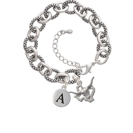 Longhorn - Texas -A- Pebble Initial Diana Bracelet (Diana Bracket)