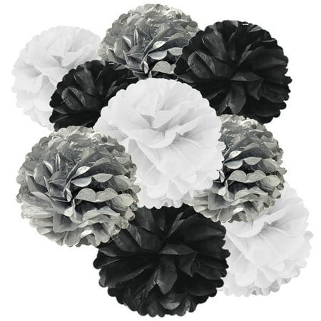 Wrapables® Set of 9 Tissue Pom Pom Party Decorations for Weddings, Birthday Parties Baby Showers and Nursery Decor, Black/Silver/White - Paris Themed Prom Decorations