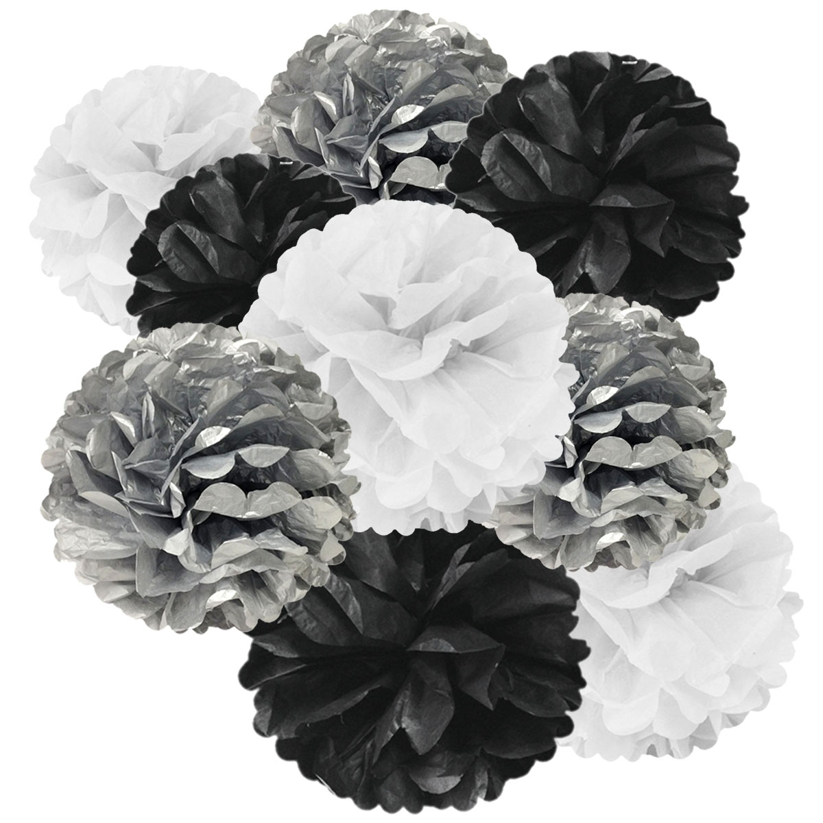 Wrapables® Set of 9 Tissue Pom Pom Party Decorations for Weddings, Birthday Parties Baby Showers and Nursery Decor, Black/Silver/White