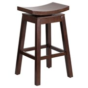 Flash Furniture 30'' High Saddle Seat Cappuccino Wood Bar Stool with Auto Swivel Seat Return by Flash Furniture