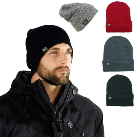 Mens Insulated Thermal Fleece Lined Comfort Daily Soft Beanies Winter Hats (Gray