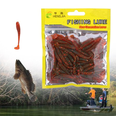 Lures,Zerone 50PCS 5cm Soft Plastic Fishing Lures T-Tail Grub Worm Baits Fish Tackle Accessory