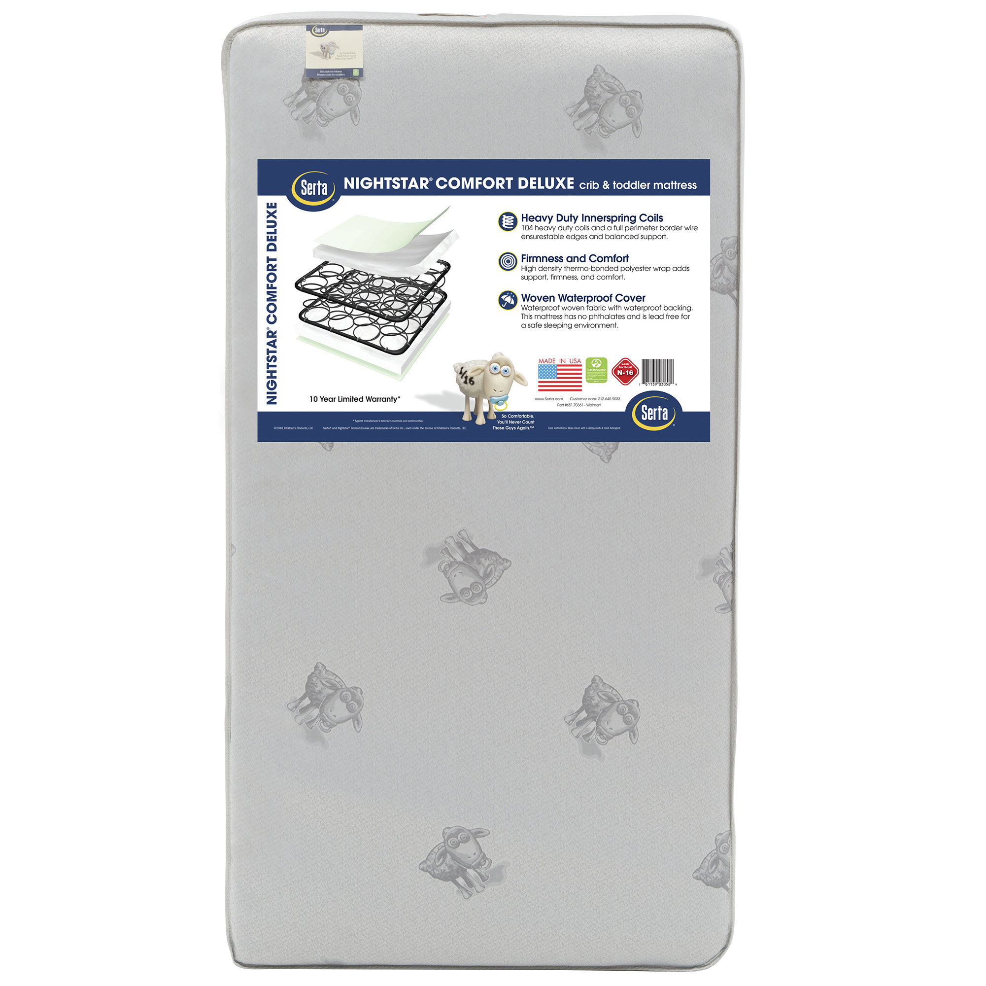 Serta Nightstar Comfort Deluxe 5.25-Inch Crib and Toddler Mattress -104 Coils - Waterproof Woven Cover - GREENGUARD Gold Certified (Natural/Non-Toxic)