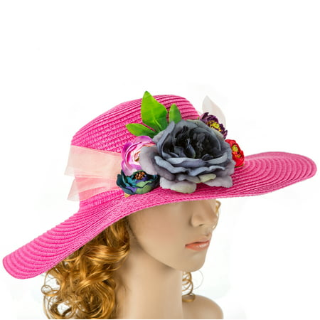 Off White Hot Pink Wedding Hat With Real Touch Flowers Kentucky Derby Hat Fascinator Wedding Accessory Cocktail Hat Bridal Hat Tea Hat Party Hat
