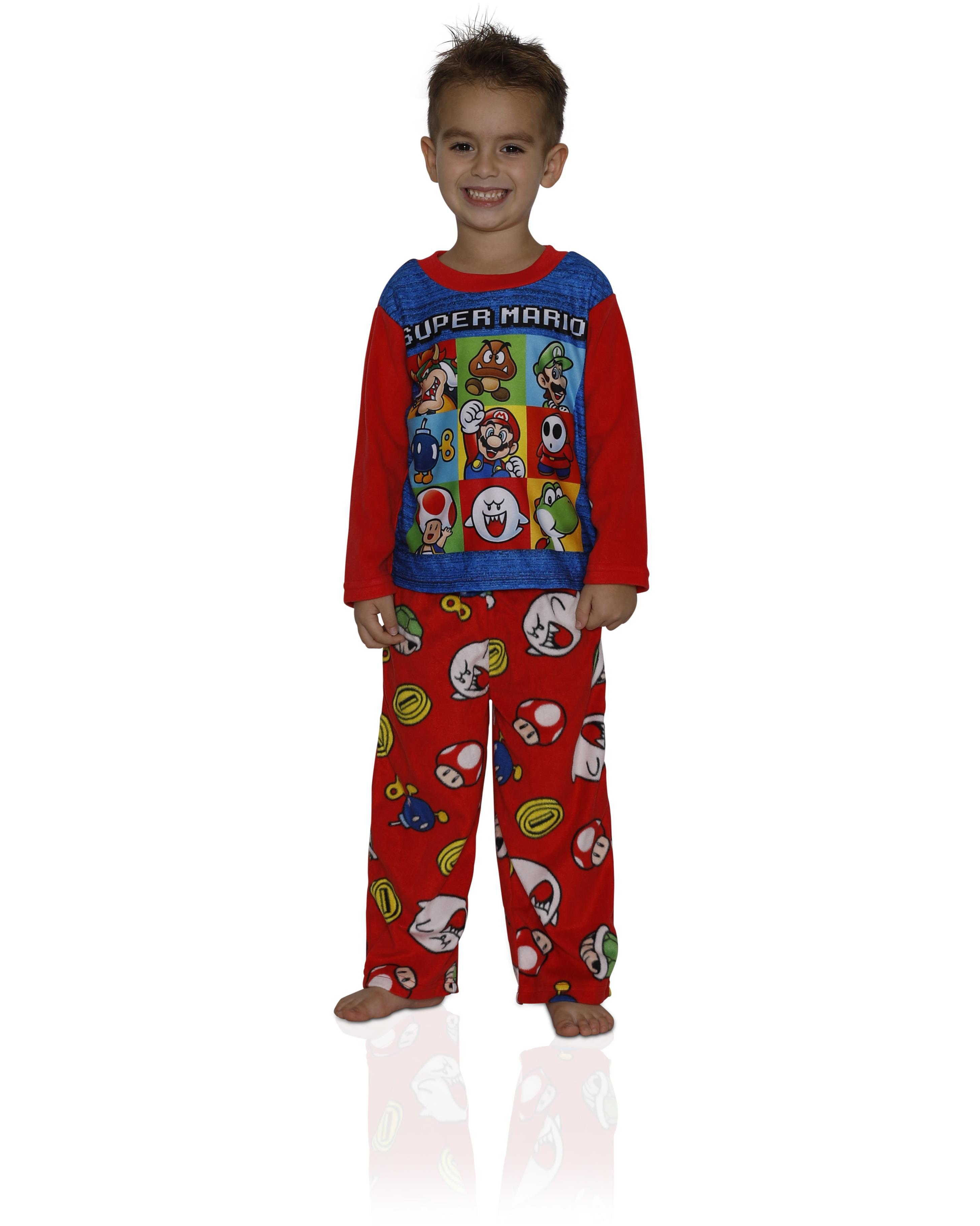Nintendo Boys' Super Mario Plush Fleece Robe and Pajamas, Blue Pajama, Size: Large / 10-12
