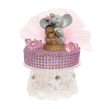 Ethnic Baby Girl Sitting on Elephant Pink Baby Shower Cake Top Decoration 5