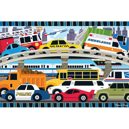 Melissa & Doug Traffic Jam Jumbo Jigsaw Floor Puzzle (24 pcs, 2 x 3 feet long) - Halloween Jigsaw Puzzles To Buy