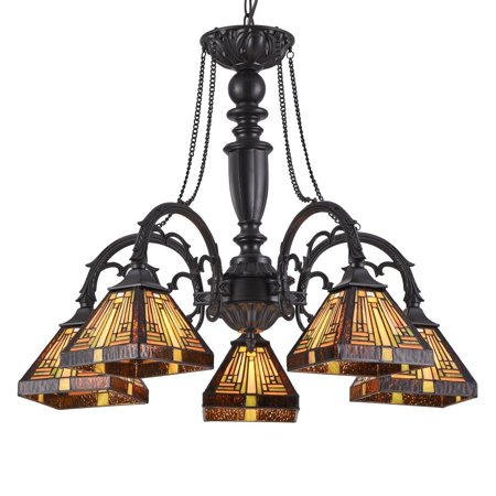 "CHLOE Lighting INNES Tiffany-style 5 Light Mission Large Chandelier 27"" Wide"