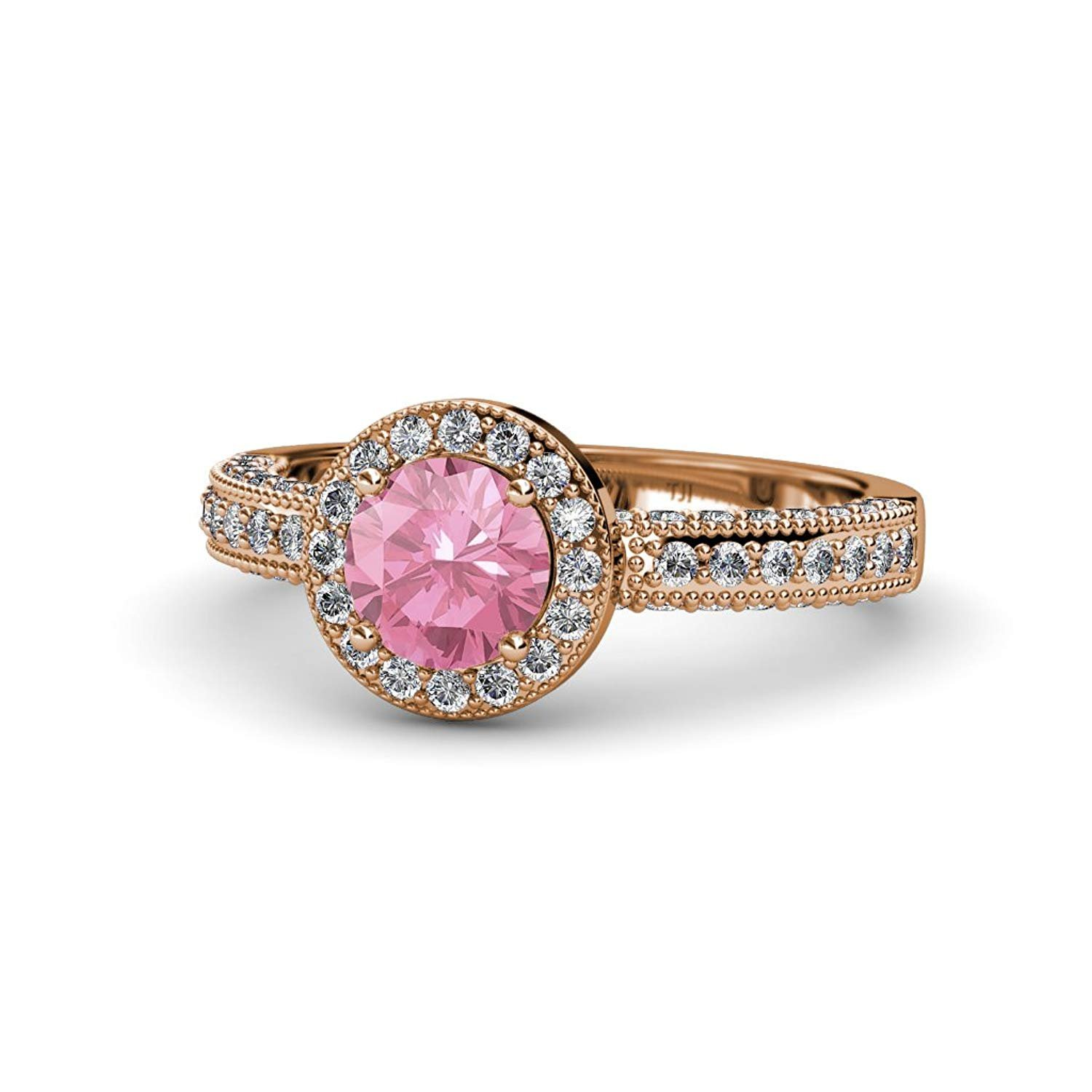 Pink Tourmaline and Diamond Halo Engagement Ring with Milgrain Work 1.54 ct tw 14K Rose Gold.size 8.5 by TriJewels