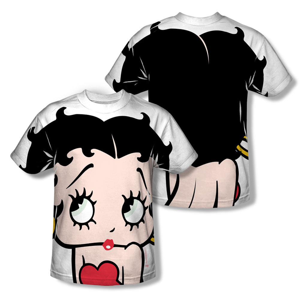 Betty Boop Men's  Big Boop Head  Sublimation T-shirt White