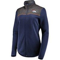 Women's Majestic Navy Denver Broncos Linear Leap Full-Zip Jacket